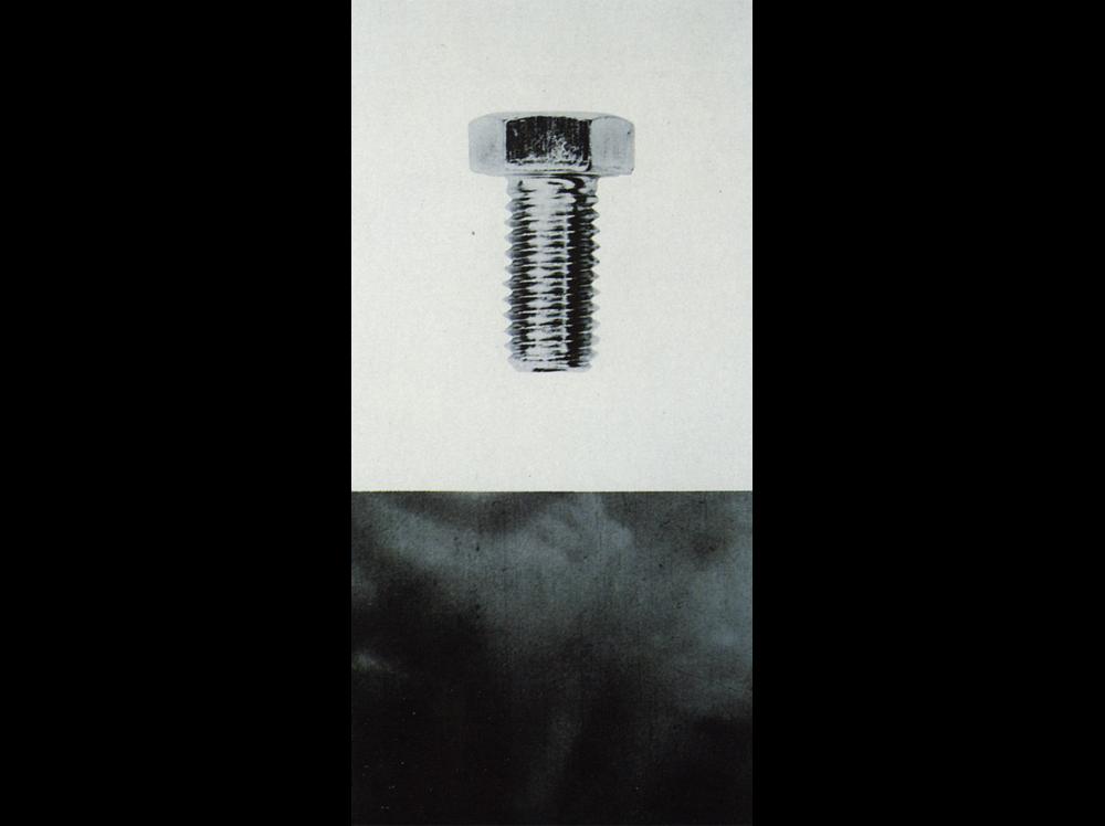 John Baldessari    Bolt      | 1987 | black and white photography mounted on board | 154,9 x 76,1 cm.