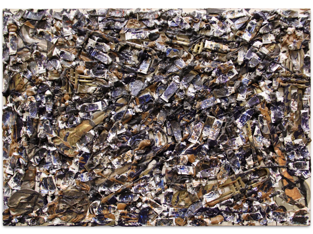 Arman   Hidden Brass      | 1997 | mixed media over canvas on panel | 107,5 x 153,5 x 6 cm.