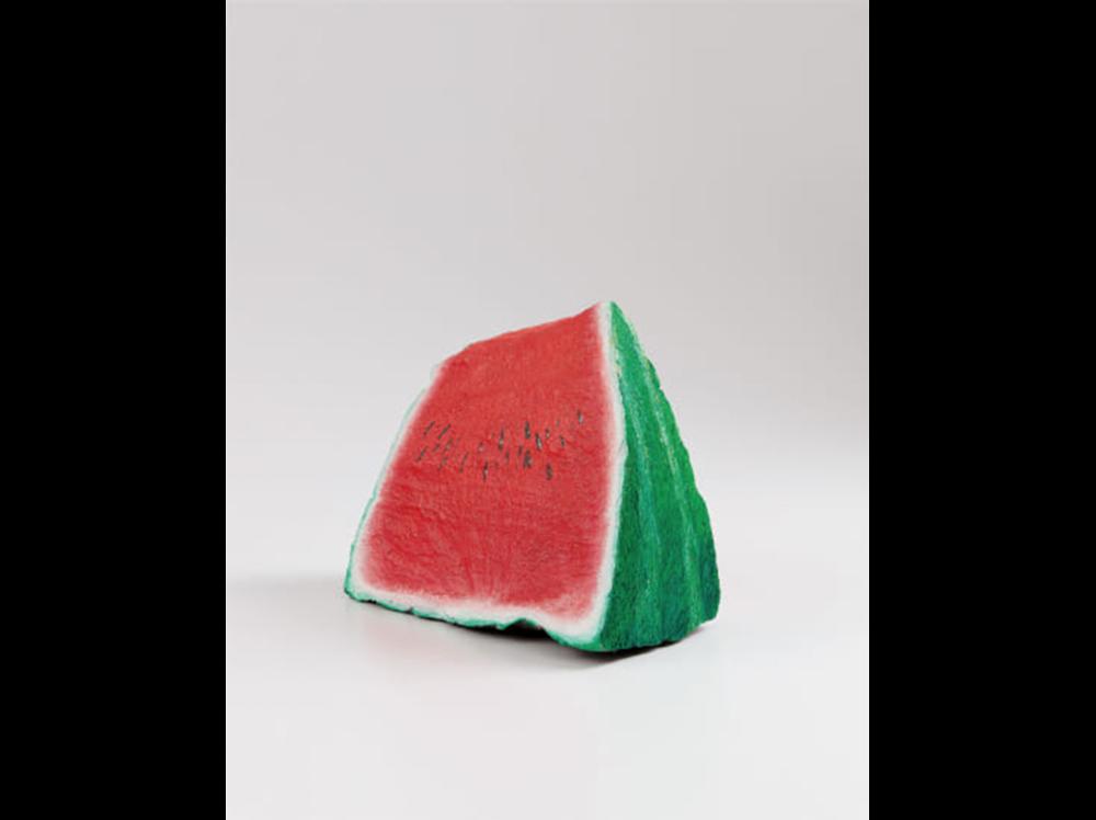 Nicolas Party   Blakam's stone (watermelon)      | 2013 | acrylic on stone | 29,2 x 30,2 x 12,7 cm.
