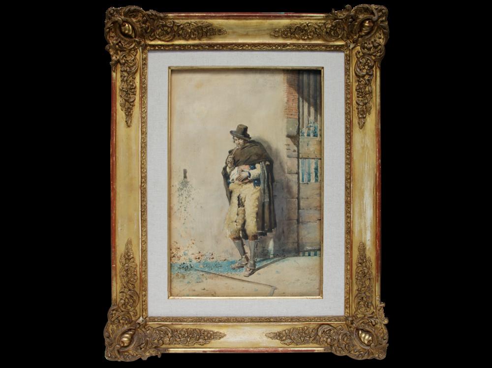 Mariano Fortuny   Personaje italiano      | mixed media on paper | 56 x 38 cm.