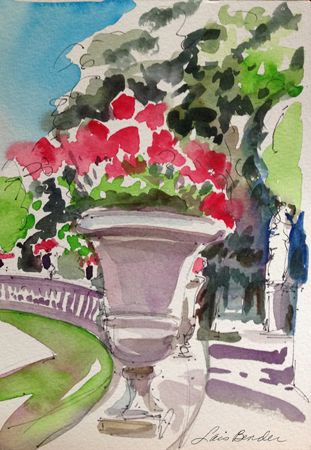 Urns of Geraniums- Jardin du Luxembourg, Paris