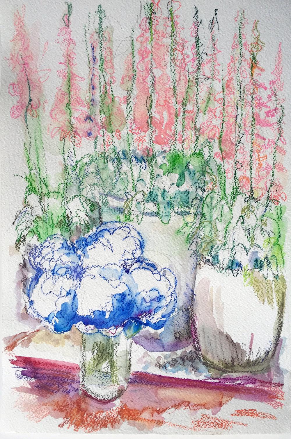 Foxgloves and Hydrangeas