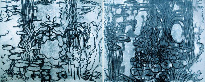 """Midnight Moonlight Waterlily Pond"""