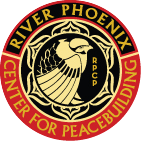 Logo for River Phoenix Center for Peacebuilding - bird in lotus flower in circle of title