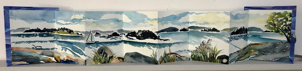 "View from Cape Rosier.  Three dimensional accordion book: watercolor, ink, cut paper on Arches Text wove paper. 6-1/2""x7"" closed. 6-1/2""x34"" open."