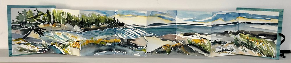 """Pendleton Point in September.  Three dimensional accordion book: watercolor, ink, cut paper on Arches Text wove paper. 6-1/2""""x7"""" closed. 6-1/2""""x34"""" open."""