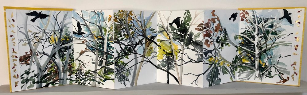 """Crows in Flight.  Large format book: Watercolor, Ink, cut paper on BFK Rives watercolor paper. 11""""x9"""" closed. 11'""""x40"""" open."""