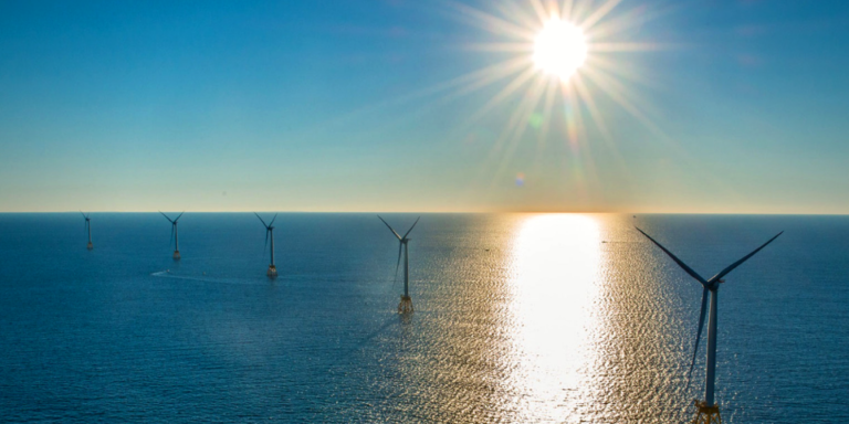 The Block Island Wind Farm is currently America's only offshore wind power project – five turbines in Rhode Island State Waters. Photo: NWF