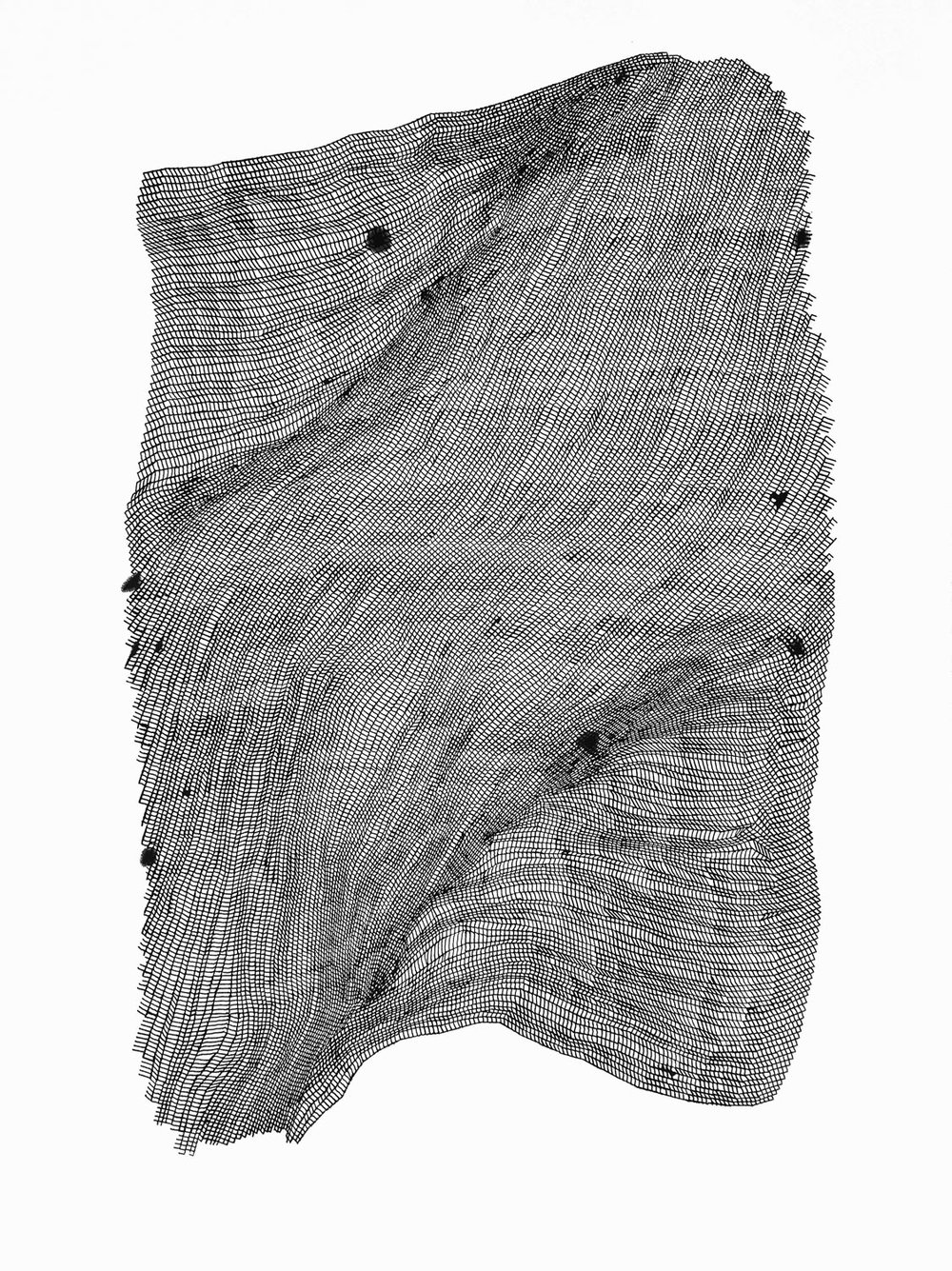 Zigzags 4 ,  2016   ink on 140 lb hot press watercolor paper 30 x 22 in (76.2 x 55.9 cm)