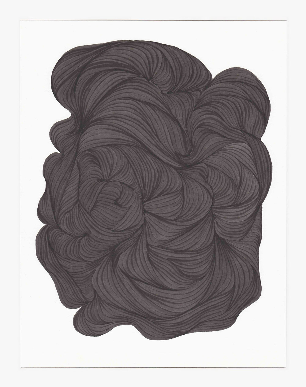 Lines 1 ,  2018   sumi ink on bristol 11.25 x 8.75 in (28.6 x 22.2 cm)