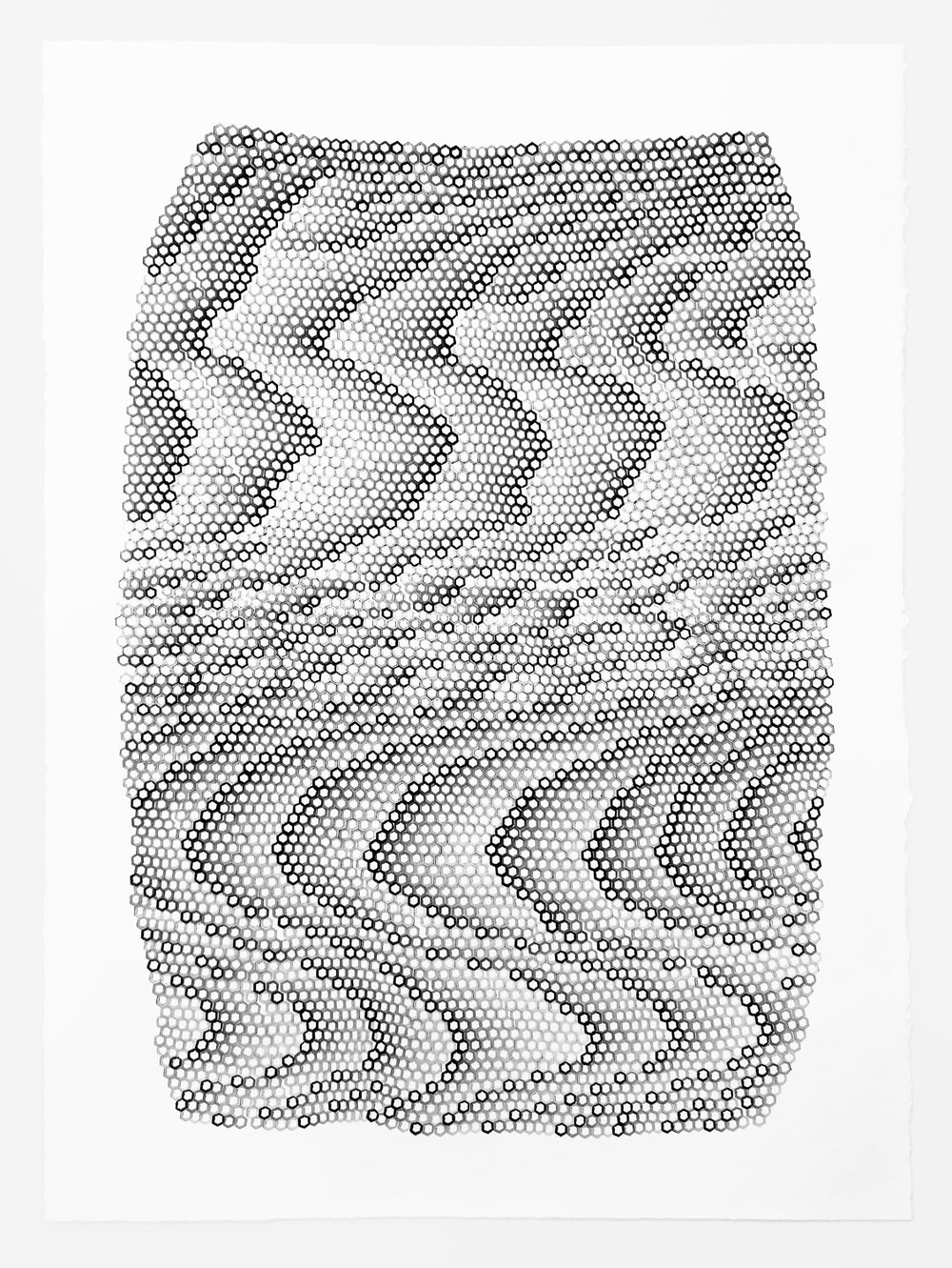 Hexagons 1 ,  2018   stamped archival ink on 140 lb hot press watercolor paper 30 x 22 in (76.2 x 55.9 cm)