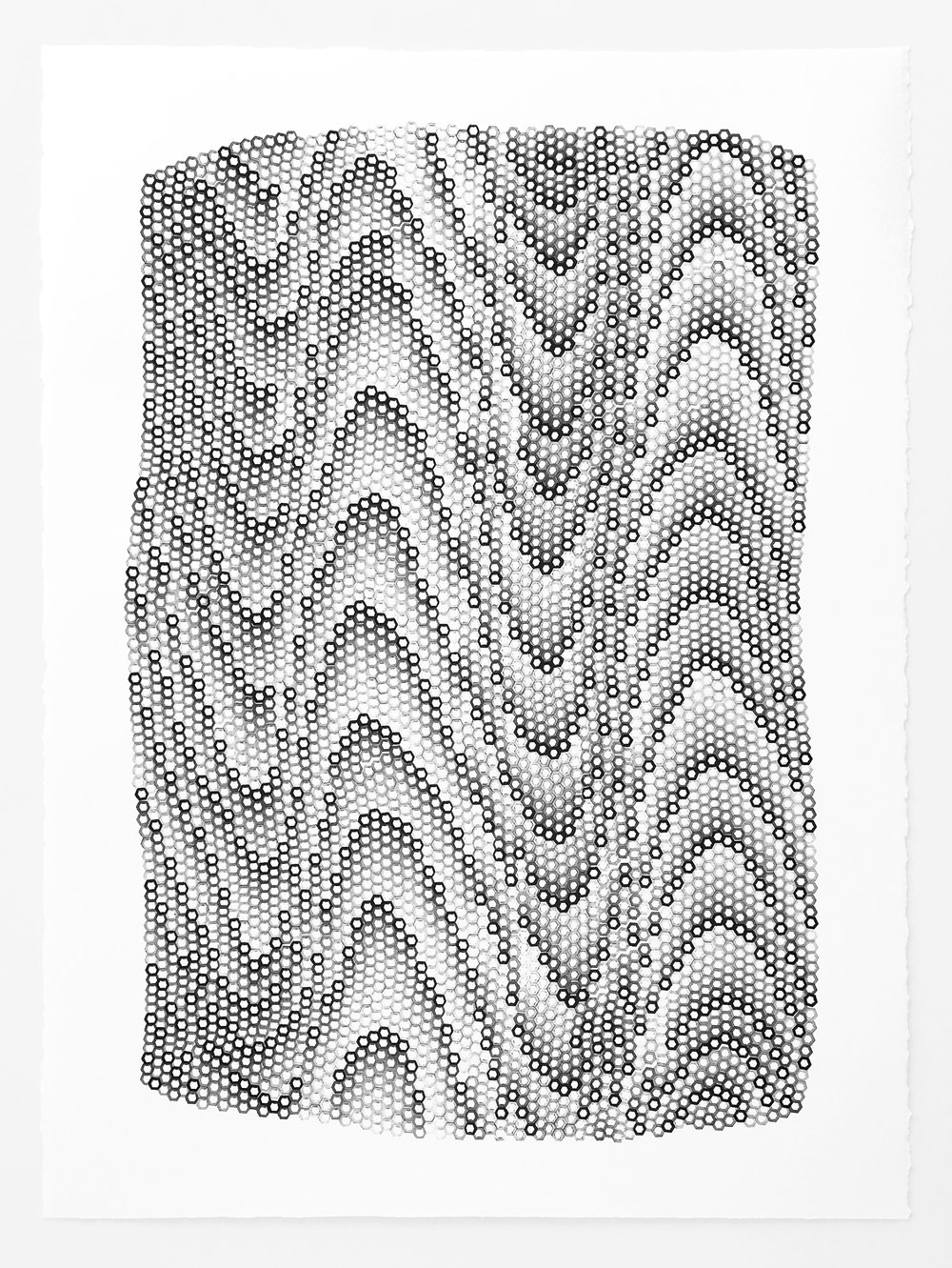 Hexagons 2 ,  2018   stamped archival ink on 140 lb hot press watercolor paper 30 x 22 in (76.2 x 55.9 cm)