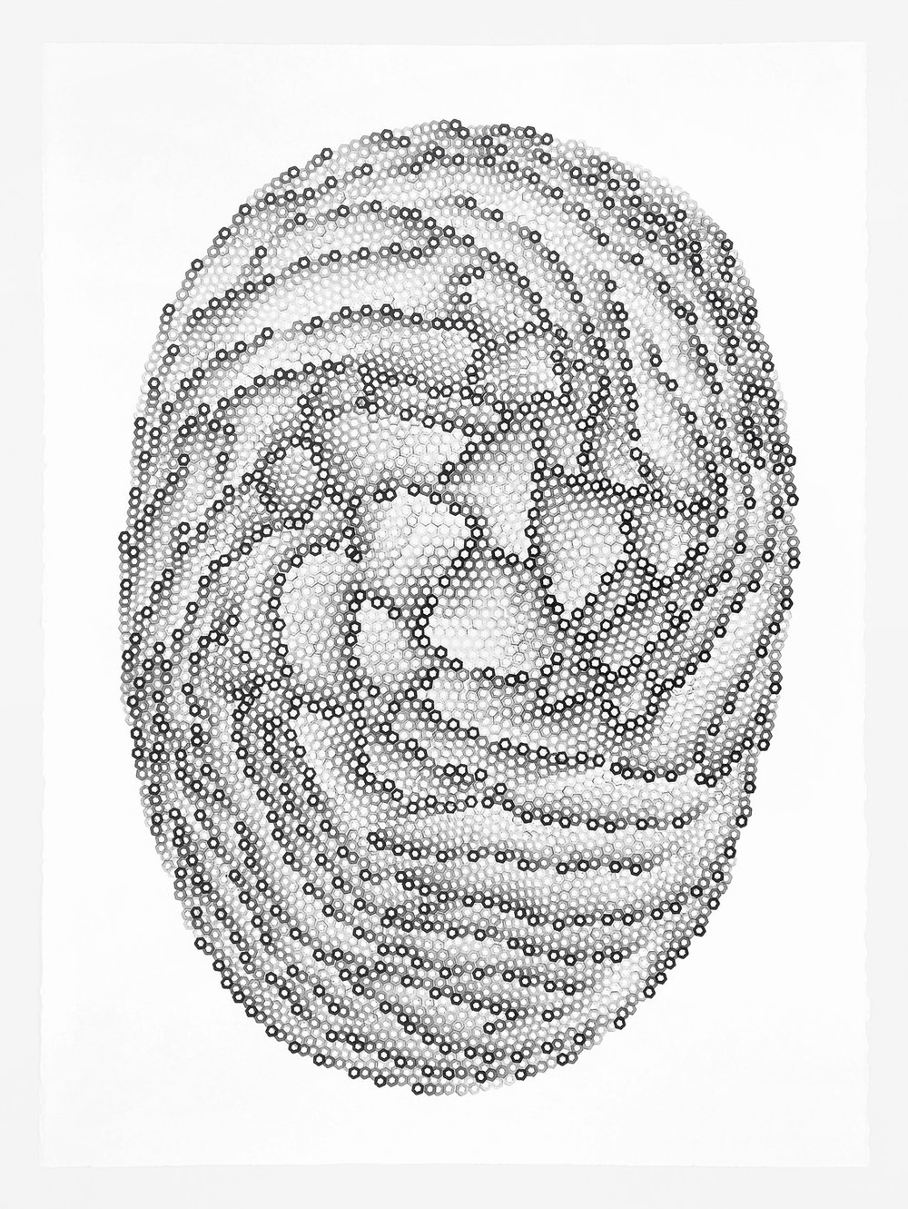 Hexagons 6,   2018   stamped archival ink on 140 lb hot press watercolor paper 30 x 22 in (76.2 x 55.9 cm)