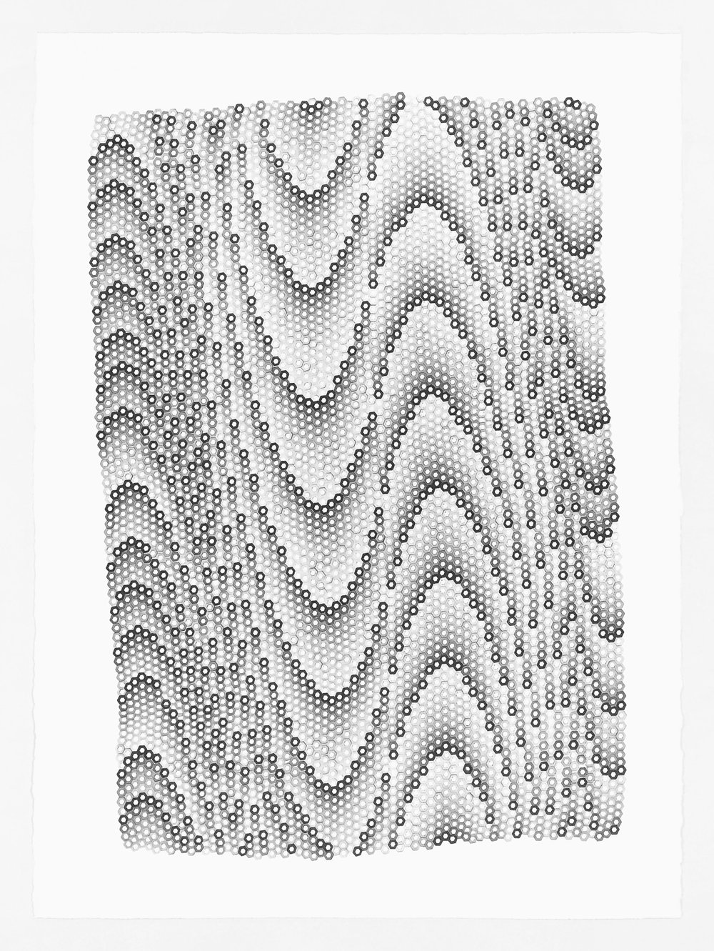 Hexagons 7 ,  2018   stamped archival ink on 140 lb hot press watercolor paper 30 x 22 in (76.2 x 55.9 cm)