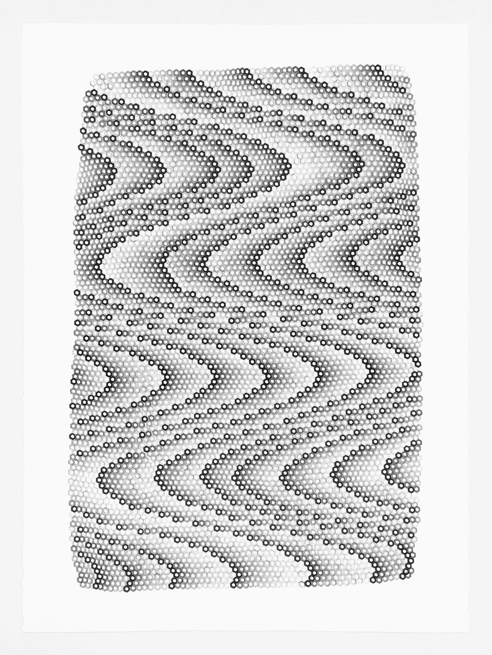 Hexagons 8 ,  2018   stamped archival ink on 140 lb hot press watercolor paper 30 x 22 in (76.2 x 55.9 cm)