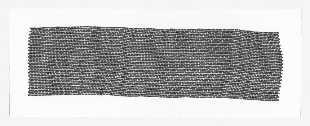 Bricks 2 ,  2018   sumi ink on 140 lb hot press watercolor paper 11 x 30 (27.9 x 76.2 cm)
