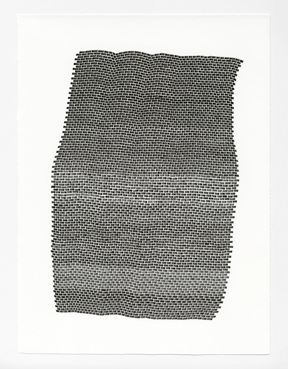 Bricks 1 ,  2017   sumi ink on 140 lb hot press watercolor paper 15 x 11 in (38.1 x 27.9 cm)