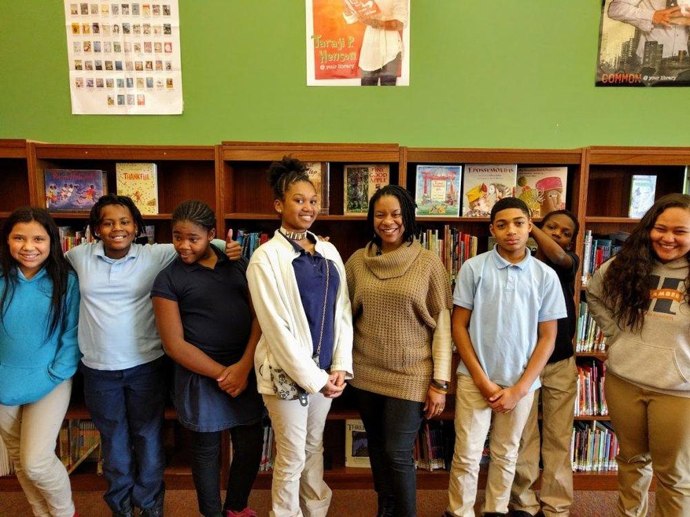 Ms. Tifani Kendrick and the aspiring poets of Harambee