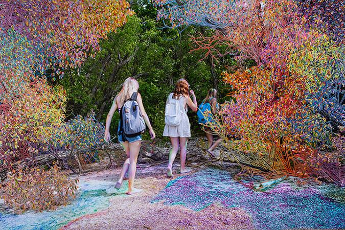 """Walking In , 2018, Édition de 3, Impression au jet d'encre, et peinture à l'huile, 45 x 65""""."""
