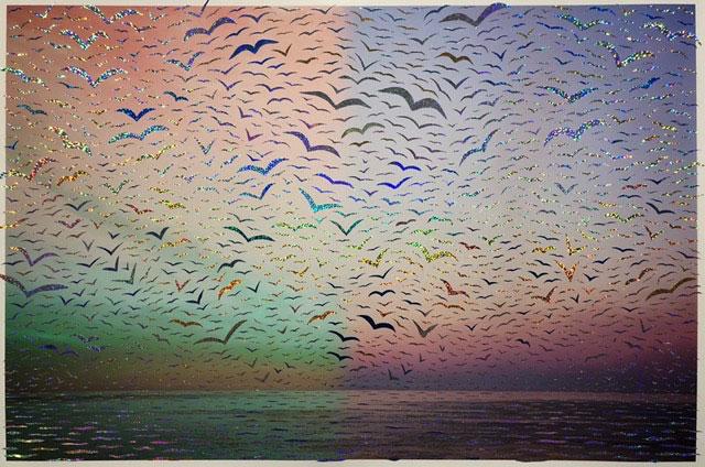 """Untited,  2018, Édition de 3, impression au jet d'encre et ruban adhésif holographique, 28 x 42""""."""