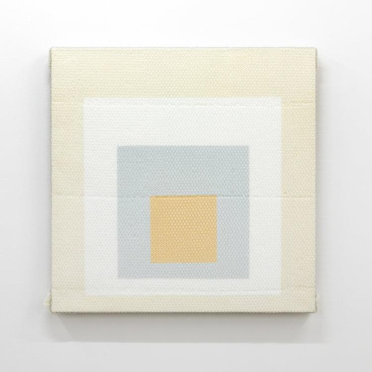 """Homage to the square , 2018, acrylique sur toile de lin, 36 x 36""""."""