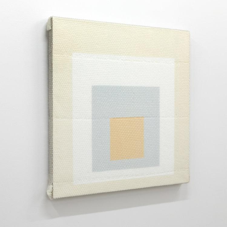"""Homage to the square , 2018,acrylique sur toile de lin, 36 x 36""""."""