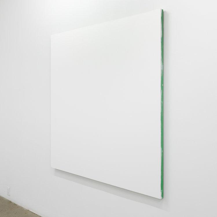 """White monochrome with painters tape , 2016, acrylique sur toile de lin, 60 x 60""""."""