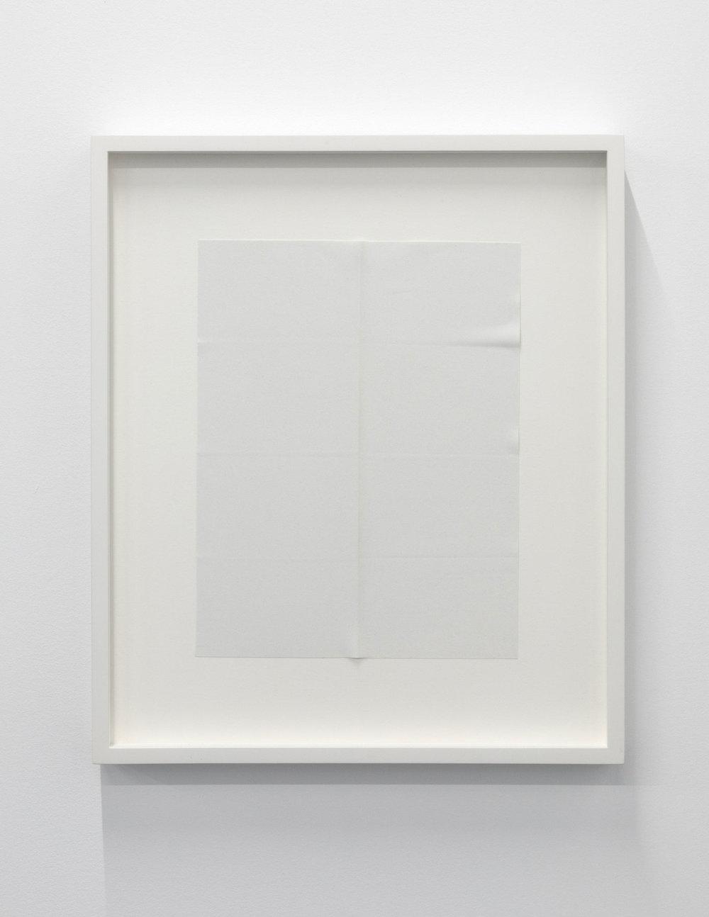 """Paper series 07, 2016,  einture acrylique pliée, 16 x 13 1/2""""."""