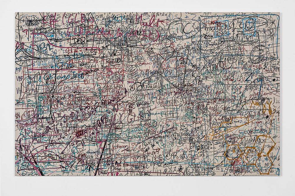 """Formules 03 , 2017, Acrylique sur toile, 42 x 68""""."""