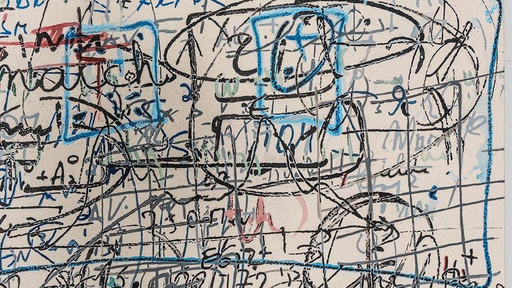 """Formules 03 , 2017, Acrylique sur toile, 42 x 68"""" (Détail)."""