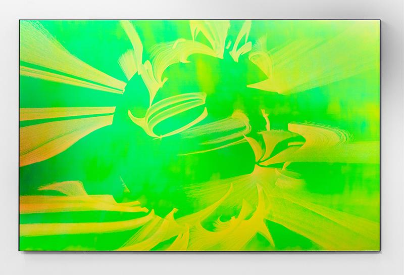 Solar flares , 2017 Impression au jet d'encre, acrylique, acier, 107 x 173 cm