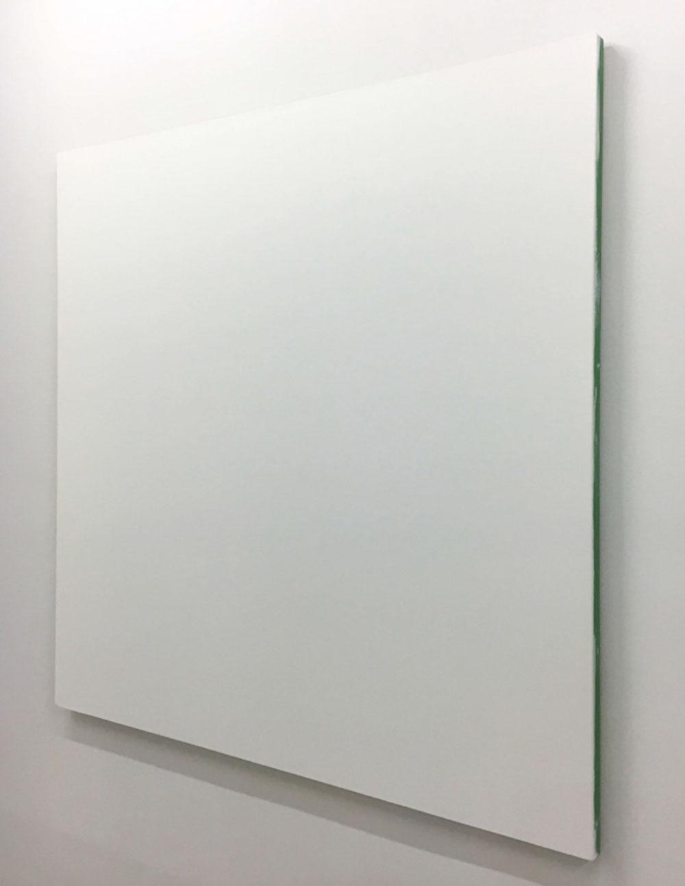 """White Monochrome with Painters Tape , 2016 Acrylique sur toile de lin 60 x 60""""."""