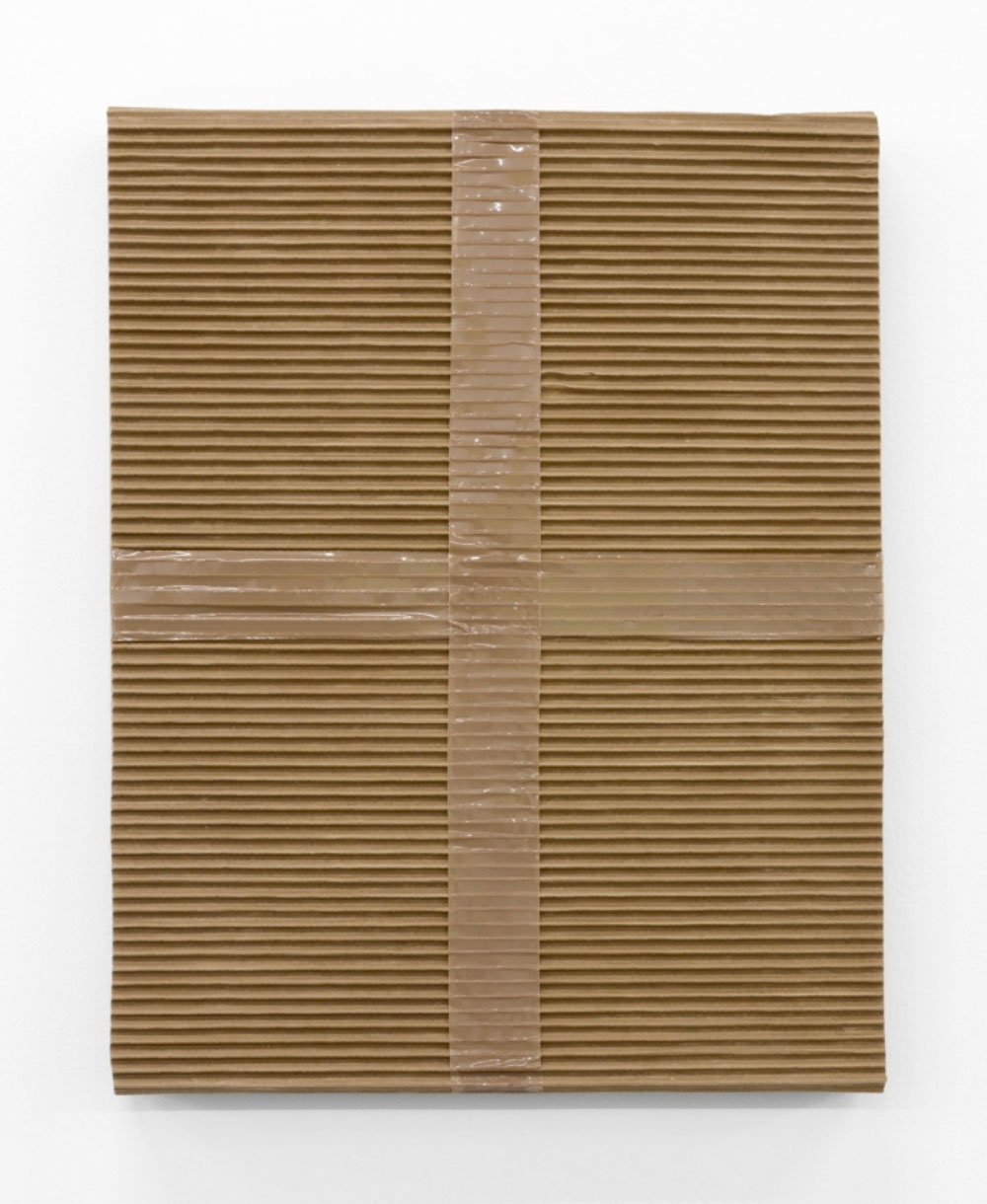 """Monochrome with Corrugated Cardboard with Tan Packing Tape , 2017-18 Acrylique sur toile de lin 20 x 16""""."""