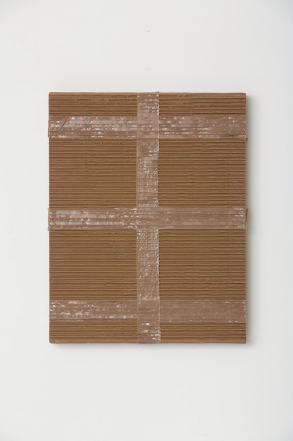 """Monochrome with Corrugated Cardboard and Tan Packing Tape , 2017  Acrylique sur toile de lin  20 x 16 x 1 1/2""""."""