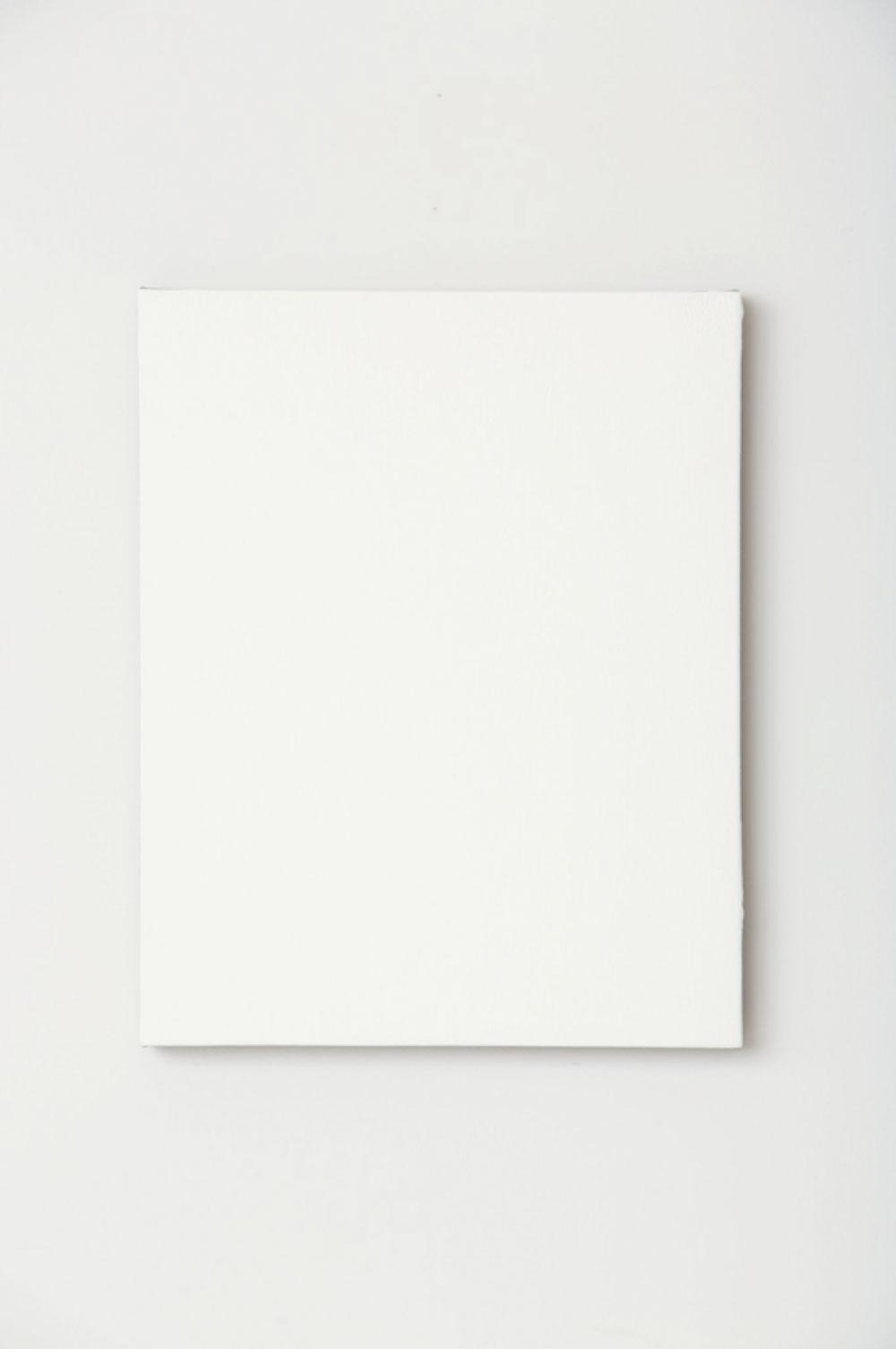 """White Monochrome with Painters Tape , 2017  Acrylique sur toile de lin  20 x 16 x 1 1/2""""."""