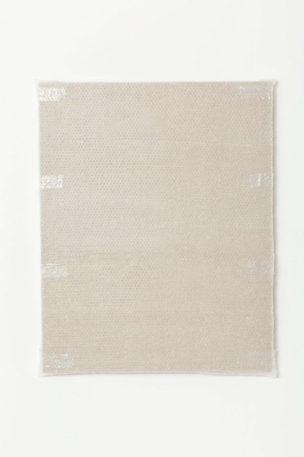 """Monochrome with Bubble Wrap and Packing Tape , 2016 Acrylique sur toile de lin  40 x 32 x 1 1/2 """"."""