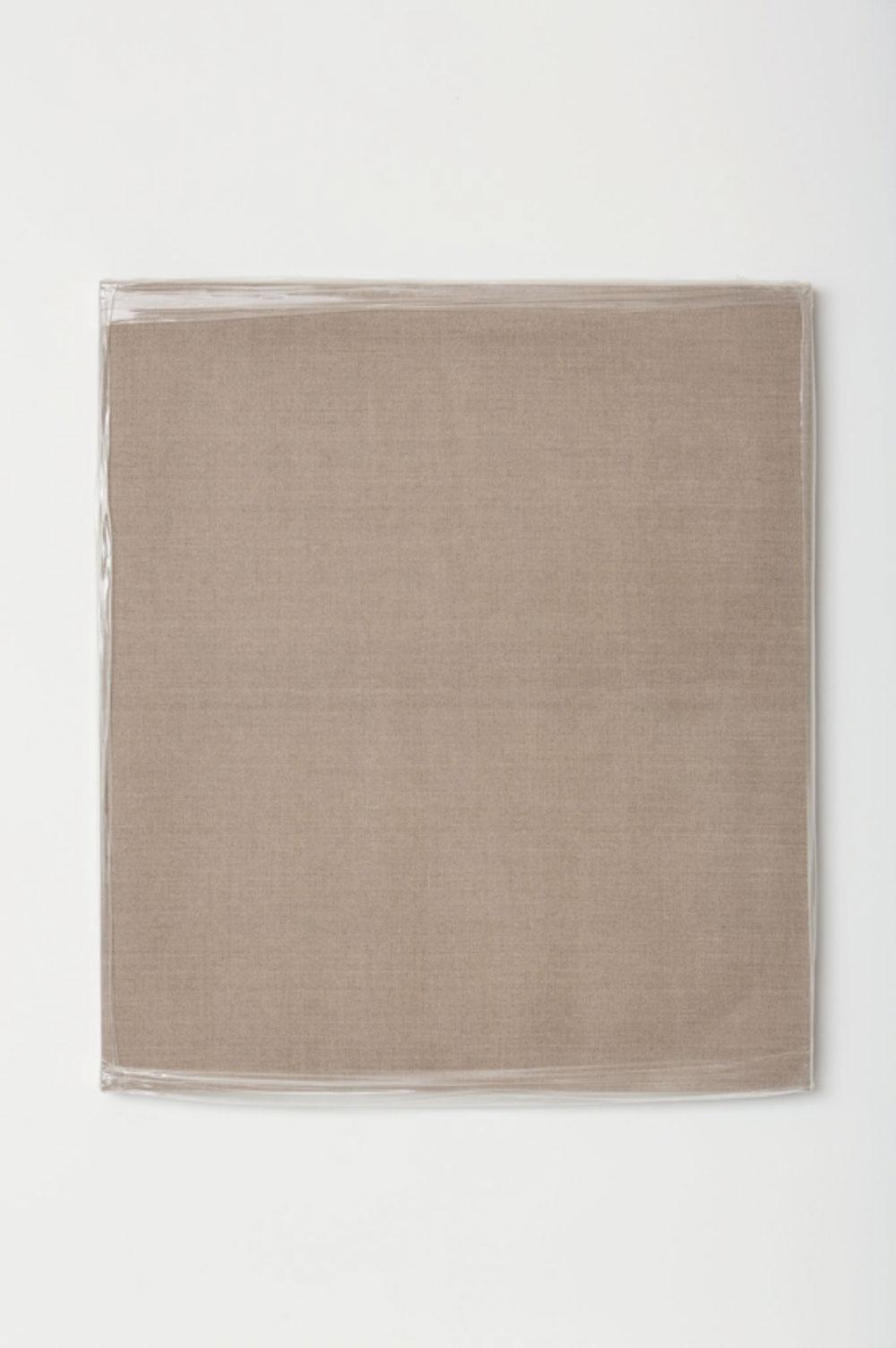"""Monochrome with Stretch Wrap , 2017 Acrylique sur toile de lin  34 x 30 x 1 1/2""""."""