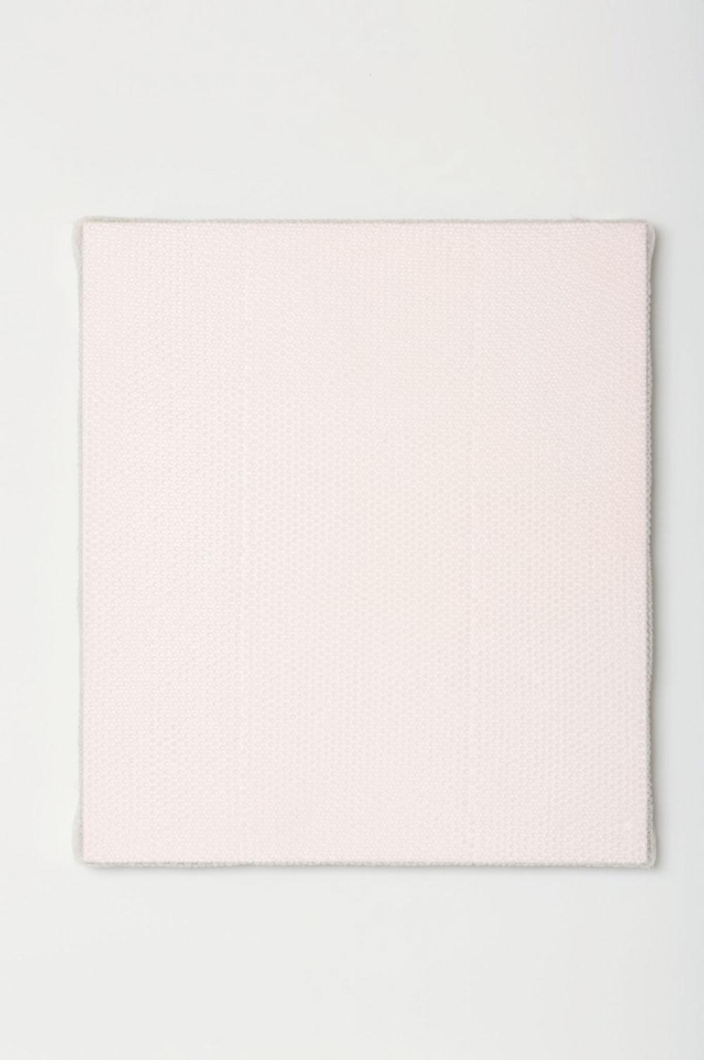 "Pink Monochrome with Bubble Wrap and Packing Tape , 2017 Acrylique sur toile de lin  34 x 30 x 1 1/2""."