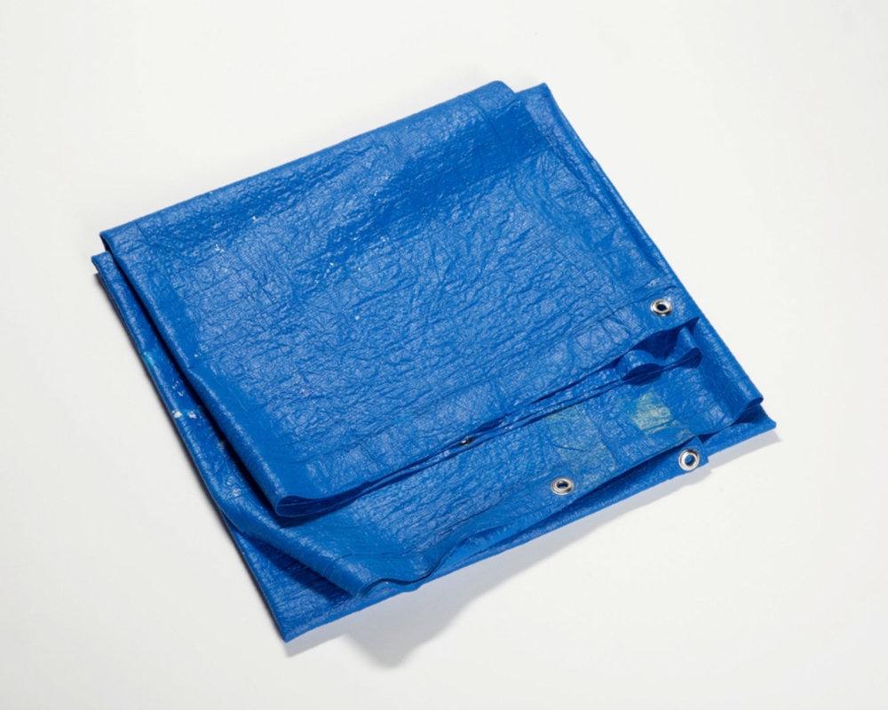 "Tarpaulin (Poly-Tarp Blue) , 2016 Acrylique, œillets  22 x 23 x 2""."