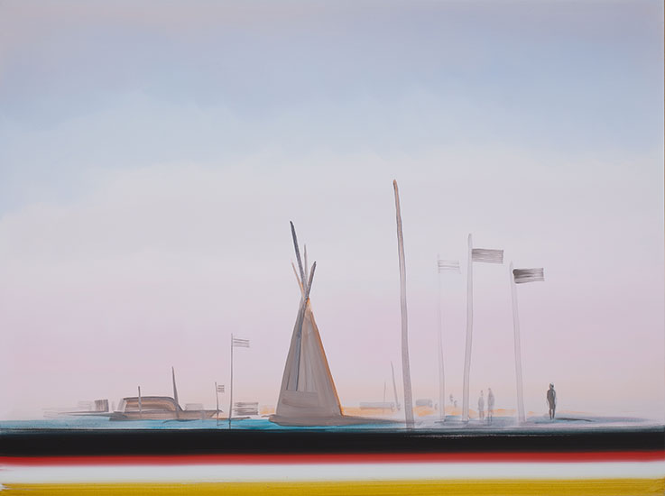 "Dakota access- Standing Withstanding , 2017, Acrylique sur toile, 30 x 40""."