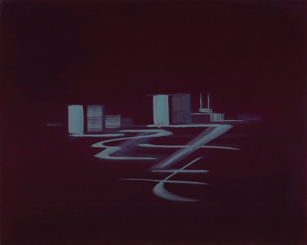 "Deep Magenta (Satellite Cities Series) , 2002 Acrylique sur toile 16 x 20""."