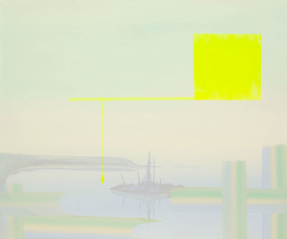 "Yellow - Lake of the Woods (Interweave Series) , 2008, Acrylique sur toile  30 x 36""."
