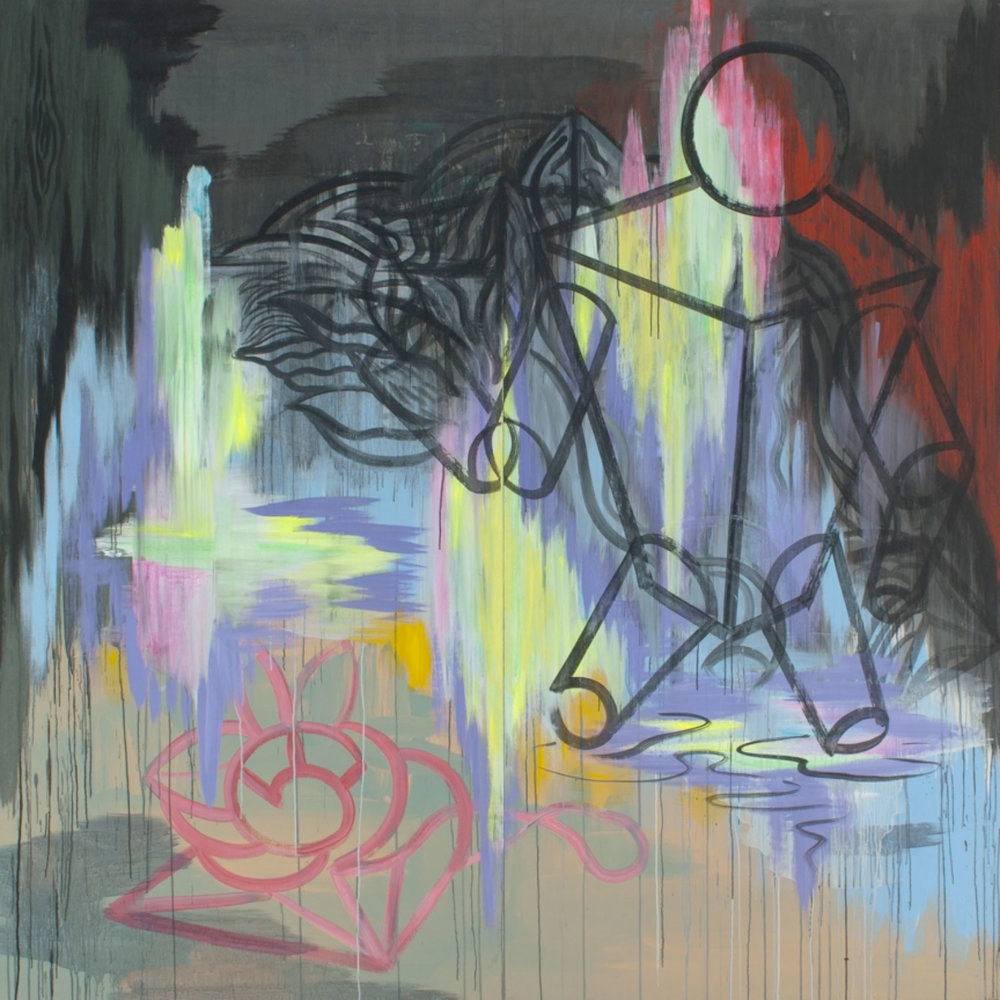"Playback (No Words) , 1990 Acrylique sur contre-plaqué  96 x 96""."