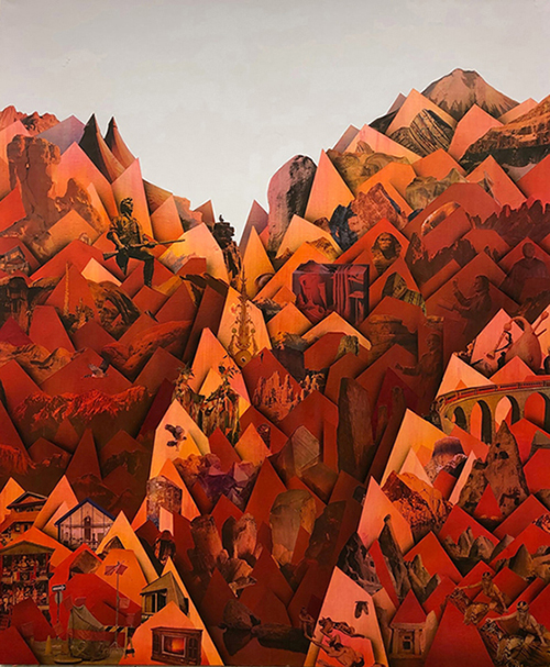 "Simon Hughes;  Mountain (magma) , 2019 Acrylique et collage sur lin  60 x 50""."