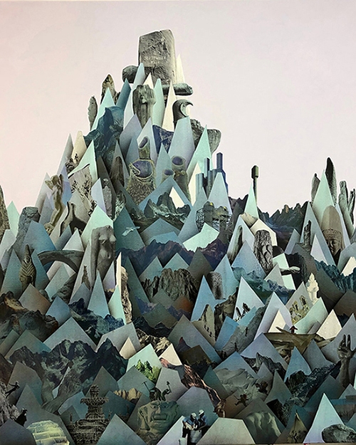 Simon Hughes;  Mountain (Moria) , 2019 Acrylique et collage sur lin  60 x 50'.