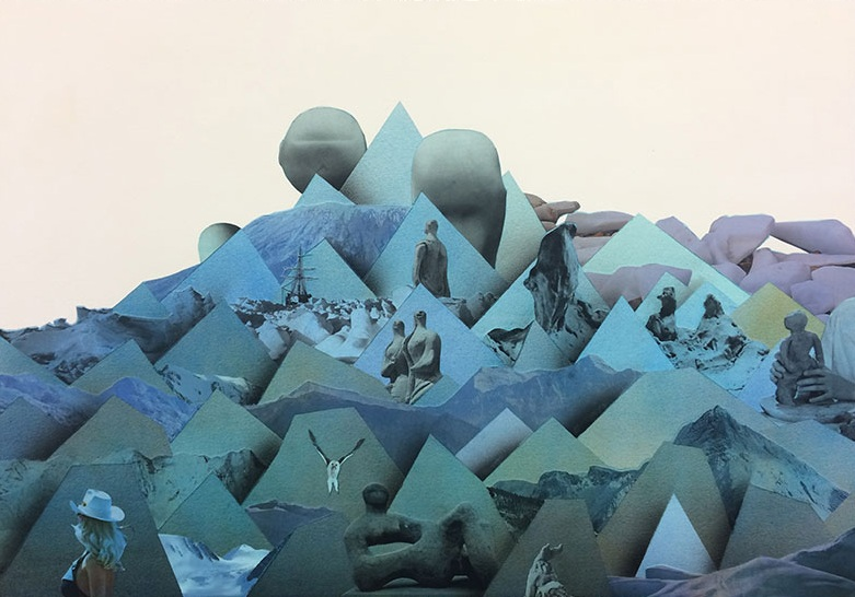 "Simon Hughes;  Mountain (clay) , 2018  Aquarelle, acrylique et collage sur papier 20 x 28""."