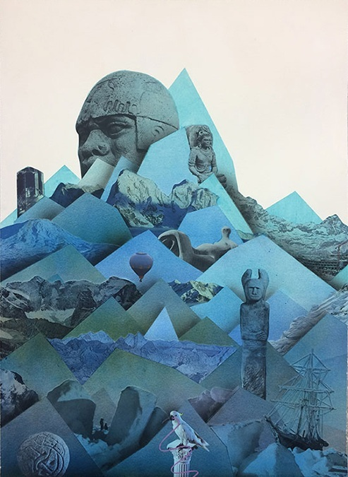 "Simon Hughes;  Mountain (Endurance) , 2018 Aquarelle, acrylique et collage sur papier  28 x 20""."