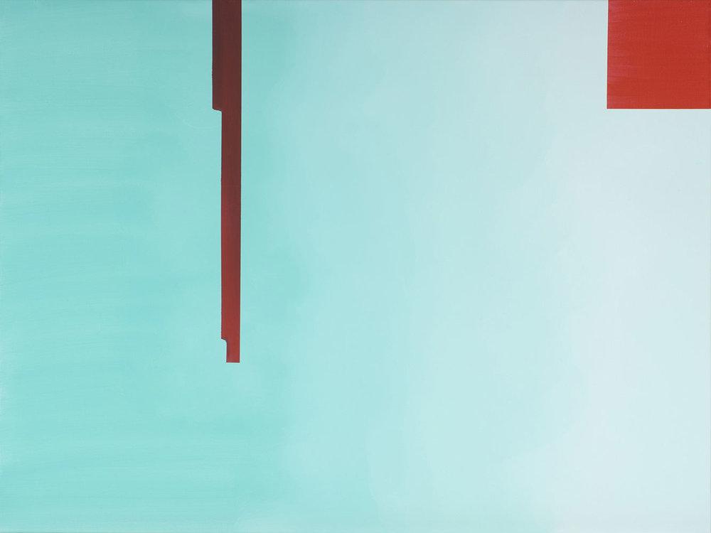 """Wanda Koop   In Absentia (Pale Aqua - Scarlet Red) , 2016, Acrylique sur toile tendue sur faux-cadre, 30"""" x 40"""""""