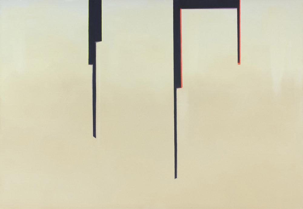 """Wanda Koop   In Absentia (Cream + Black N.Y.C.) , 2015, Acrylique sur toile de lin, 24"""" x 30"""""""