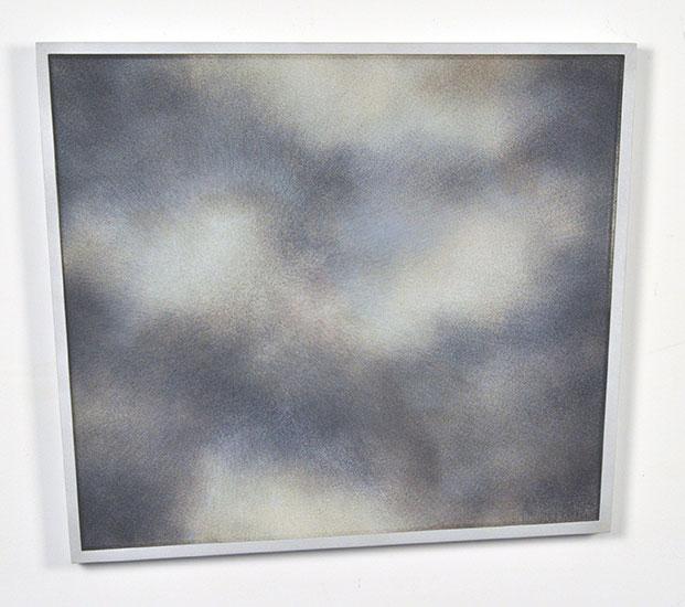 "Patrick Coutu ,  Poussières II , 2018, Enamels on glass, mirror, frame in aluminium, 16 3/4"" x 18 3/4"" x 1""."